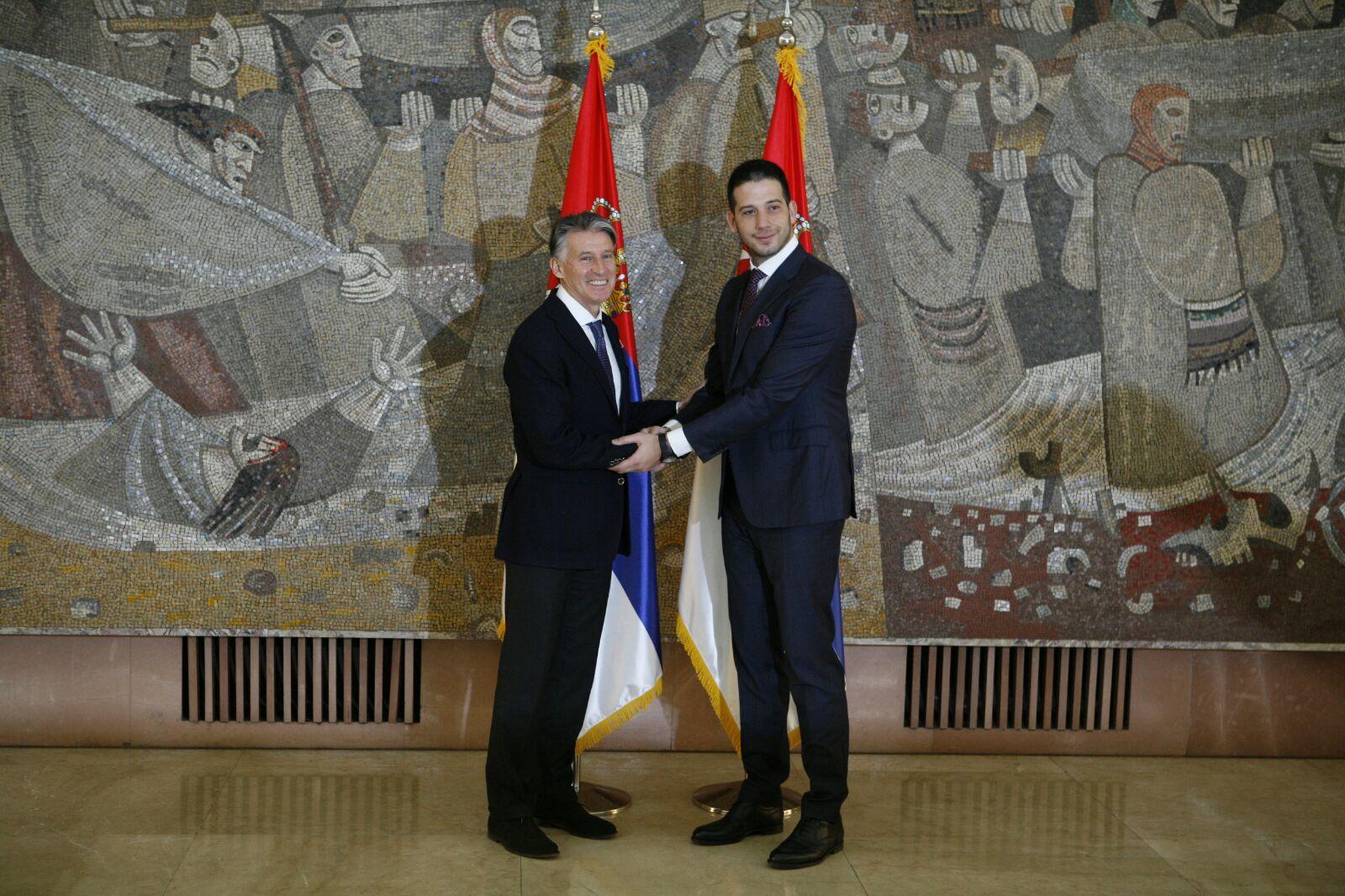 Министар Удовичић са председником Светске атлетске федерације Себастианом Коуом